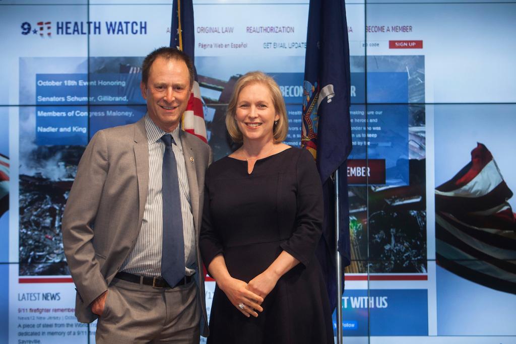 Michael Barasch and Senator Gillibrand at 9/11 Health Watch Benefit