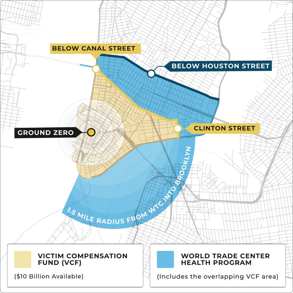 Map of the 9/11 Exposure Zone in Lower Manhattan New York City