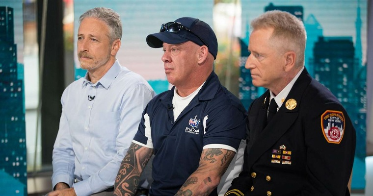 Jon Stewart, well-known 9/11 advocate John Feal, and Ret. FDNY Deputy Chief and Director of 9/11 Outreach at Barasch & McGarry Richard Alles this morning on the TODAY Show